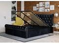 ŁÓŻKO 160X200 Z POJEMNIKIEM - PISA (1298G) - WELUR CZARNE + KRYSZTAŁKI Kolor Czarny Łóżko tapicerowane Kategoria Łóżka do sypialni