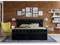 ŁÓŻKO 160X200 Z POJEMNIKIEM - PISA (1298G) - WELUR CZARNE + KRYSZTAŁKI Łóżko tapicerowane Kolor Czarny
