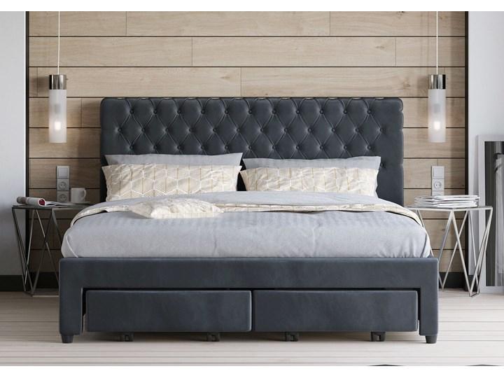 Łóżko 160x200 z materacem - WENECJA (1217D) - welur popiel guziki