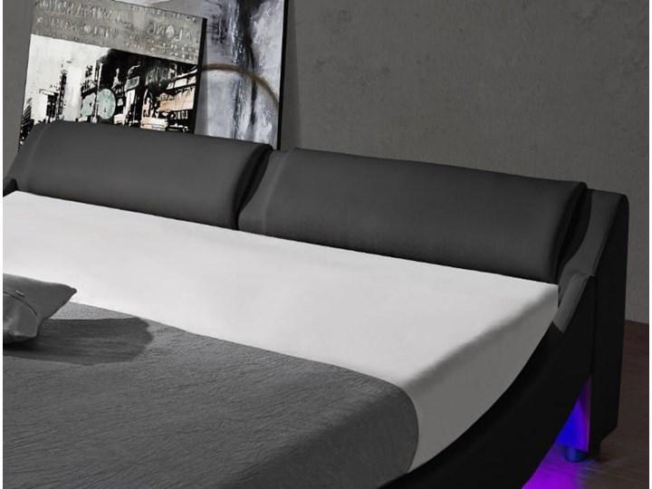 ŁÓŻKO 180x200 TAPICEROWANE - BOLZANO LED - EKOSKÓRA CZARNE Łóżko tapicerowane Kolor Czarny