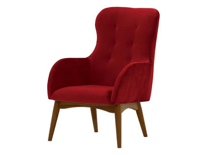 Fotel uszak Hollis Styl Skandynawski Drewno Tkanina Pomieszczenie Salon