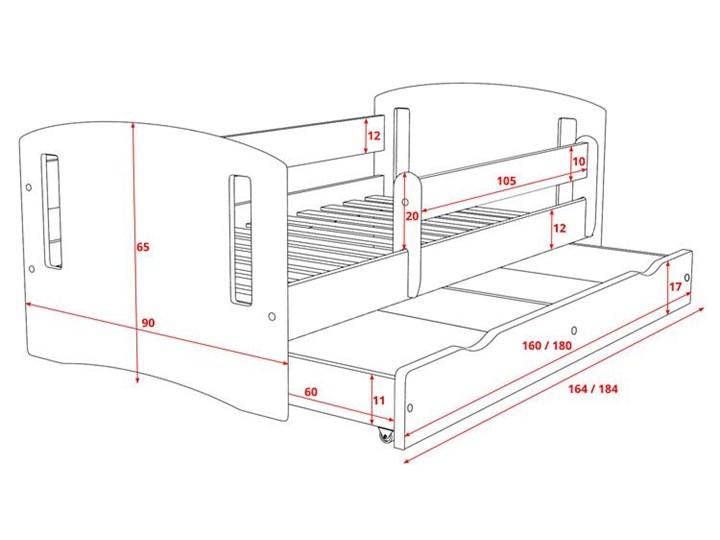Łóżko dla dziewczynki z barierką Pinokio 3X 80x180 - różowe Płyta MDF Płyta meblowa Kategoria Łóżka dla dzieci Drewno Kolor Różowy