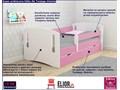 łóżko dla dziewczynki z barierką pinokio 3x 80x180 - różowe