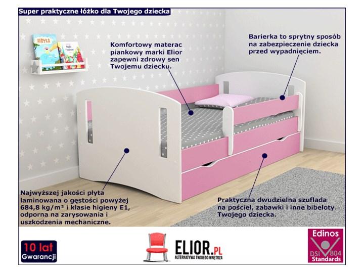 Łóżko dla dziewczynki z barierką Pinokio 3X 80x180 - różowe Płyta MDF Drewno Płyta meblowa Rozmiar materaca 80x180 cm