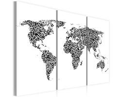 Obraz - Mapa świata - alfabet - tryptyk