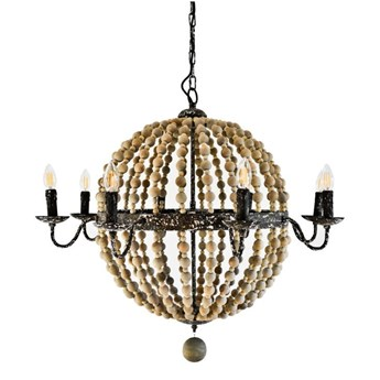 Drewniana lampa wisząca do salonu FATIMA żyrandol w stylu hamptons