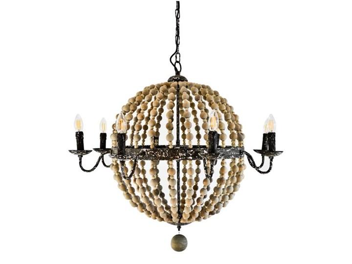 Drewniana lampa wisząca do salonu FATIMA żyrandol w stylu hamptons Kolor Czarny Tkanina Papier Ilość źródeł światła 6 źródeł