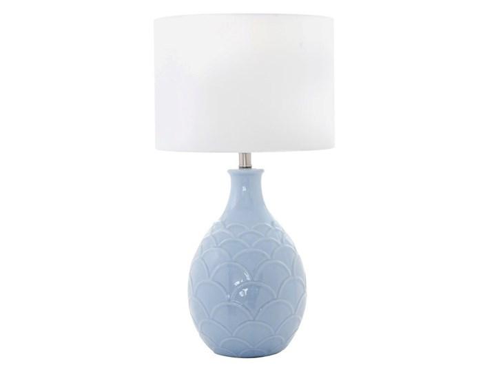 Lampa ceramiczna niebieska HARBIN do salonu w stylu hamptons Lampa z abażurem Kolor Styl Klasyczny