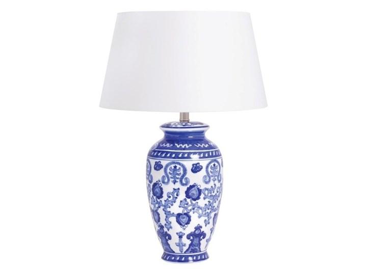 Lampa ceramiczna niebieska  HANOI na komodę Kolor Granatowy Lampa z abażurem Kategoria Lampy stołowe