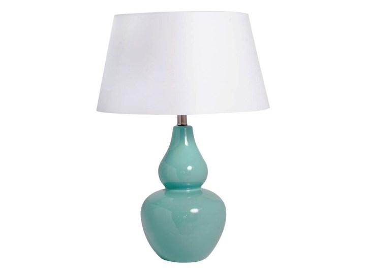 Ceramiczna lampa stołowa KANDY z białym abażurem Kolor Miętowy Lampa z abażurem Kategoria Lampy stołowe