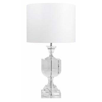 Kryształowa lampa z białym abażurem w stylu glamour cylinder 40cm MITAKA