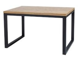 SELSEY Stół Owens 120x80 cm z litego drewna z czarną podstawą