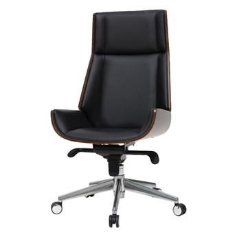 SELSEY Fotel biurowy Derdive czarna ekoskóra - orzech