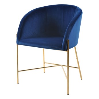SELSEY Krzesło tapicerowane Ribioc granatowy welur na złotych nogach