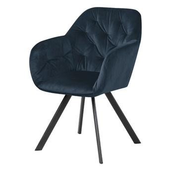 SELSEY Krzesło tapicerowane Elestren niebieski welur