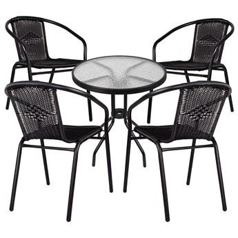 Meble ogrodowe zestaw ogrodowy dla 4 osób metal i szkło czarny