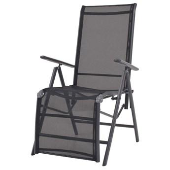 vidaXL Rozkładane krzesło tarasowe, aluminium i textilene, czarne