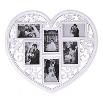 Ramka na zdjęcia BREVA serce - 6 zdjęć - biała