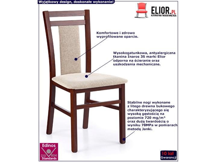 Drewniane krzesło tapicerowane Thomas - Ciemny orzech Drewno Wysokość 90 cm Styl Skandynawski Tkanina Szerokość 45 cm Kolor Beżowy
