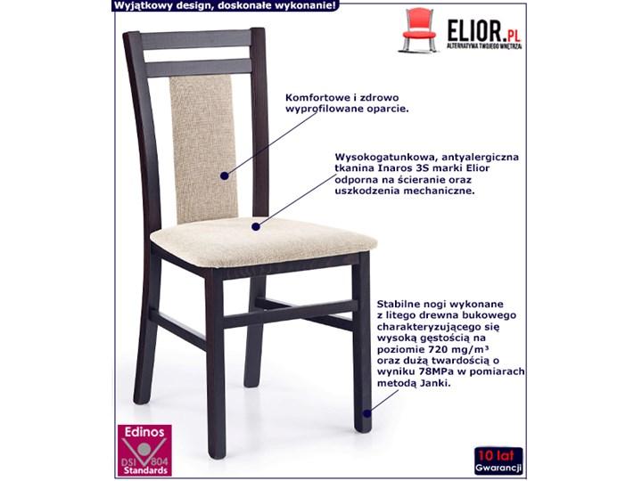 Drewniane krzesło tapicerowane Thomas - Wenge Tkanina Wysokość 90 cm Szerokość 45 cm Drewno Kolor Biały