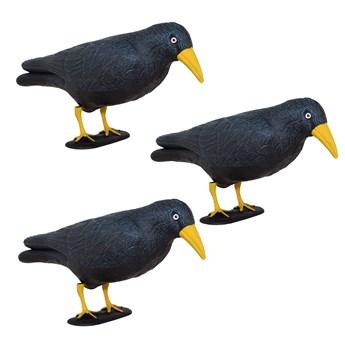 Odstraszacz ptaków 11x39x18,5cm stojący kruk czarny z żółtym dziobem zestaw 3 szt.