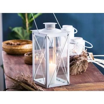 Latarenka / latarnia/ lampion ozdobny wiszący metalowy Altom Design kwadratowa biała 34,5 cm