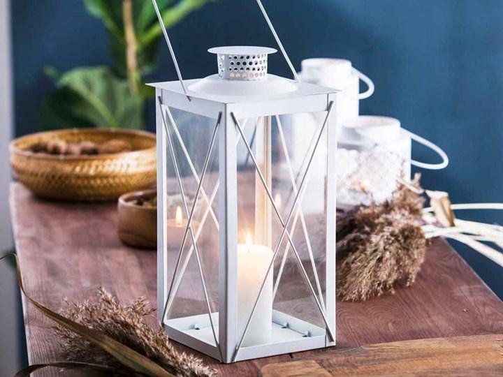 Latarenka / latarnia/ lampion ozdobny wiszący metalowy Altom Design kwadratowa biała 34,5 cm Kolor Biały Kategoria Świeczniki i świece