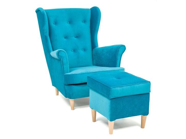Fotel z podnóżkiem USZAK 3 / kolory do wyboru Kategoria Fotele do salonu Wysokość 103 cm Fotel uszak Drewno Szerokość 74 cm Pomieszczenie Salon