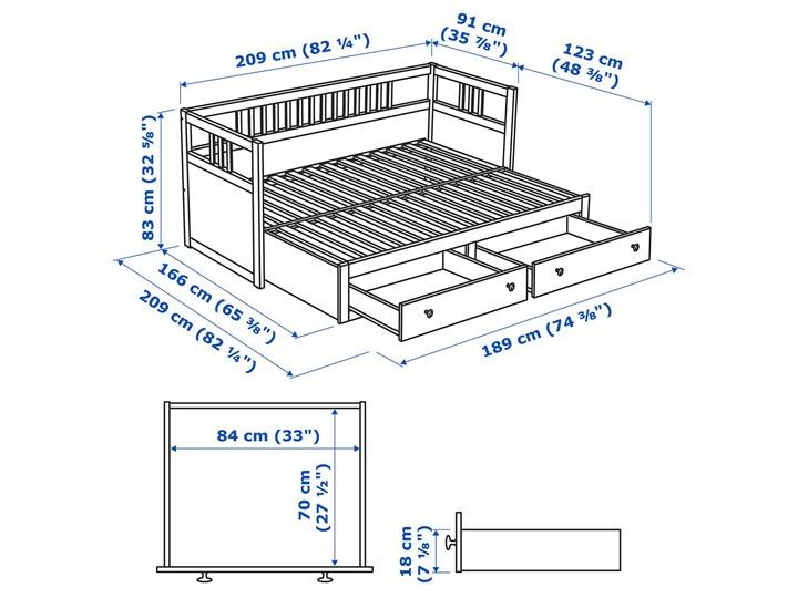 IKEA HEMNES Leżanka z 2 szufladami, 2 materace, jasnobrązowy/Malfors średnio twardy, 80x200 cm Drewno Kategoria Łóżka dla dzieci Podwójne Kolor Beżowy