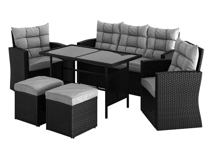 Meble ogrodowe - 1090 CZARNE - zestaw z technorattanu dla 7 osób Zestawy wypoczynkowe Zawartość zestawu Krzesła
