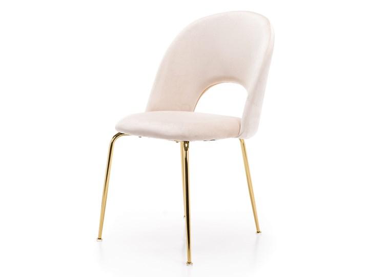KRZESŁO TAPICEROWANE KC-903-2 BEŻ WELUR,  NOGI ZŁOTY CHROM Styl Nowoczesny Tkanina Tworzywo sztuczne Metal Kategoria Krzesła kuchenne