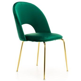Krzesło Glamour KC-903-2 zielony welur, nogi złoty chrom