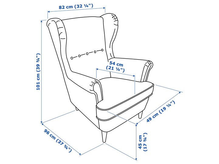 STRANDMON Fotel uszak Głębokość 54 cm Pomieszczenie Salon Wysokość 45 cm Tkanina Głębokość 96 cm Szerokość 82 cm Wysokość 101 cm Tworzywo sztuczne Kategoria Fotele do salonu