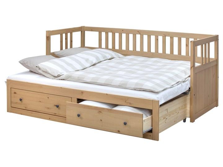 IKEA HEMNES Leżanka z 2 szufladami, 2 materace, jasnobrązowy/Malfors średnio twardy, 80x200 cm Podwójne Drewno Kategoria Łóżka dla dzieci