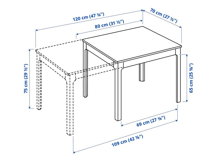 EKEDALEN Stół rozkładany Długość 120 cm  Długość 80 cm  Wysokość 75 cm Płyta MDF Szerokość 70 cm Styl Minimalistyczny