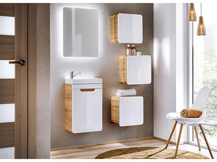 Wisząca kwadratowa szafka łazienkowa Borneo 2X - biały połysk Wysokość 35 cm Szafki Szerokość 35 cm Wiszące Rodzaj frontu Drzwiczki