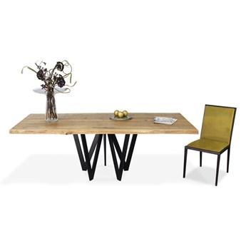 Stół Vistula 160 x 100 cm czarny mat obłoga dąb naturalny - krawędź prosta