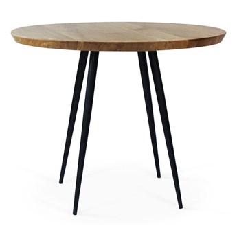 Stół Tana Ø - 80 cm czarny mat dąb lity - krawędź prosta