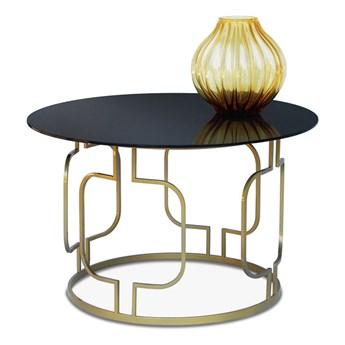 Stolik kawowy Arbo czarny mat szkło transparentne Ø - 60 cm