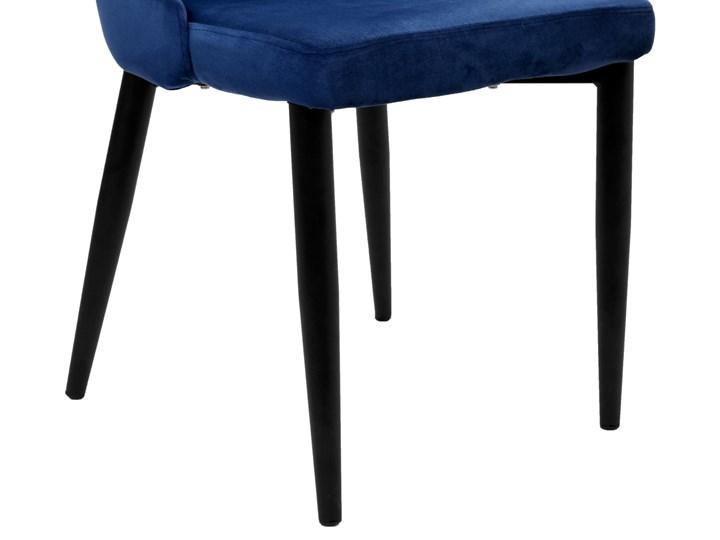 Krzesło aksamitne Lorient Velvet Granatowy Tkanina Szerokość 32 cm Wysokość 41 cm Głębokość 45 cm Tworzywo sztuczne Welur Styl Industrialny Metal Wysokość 46 cm Tapicerowane Wysokość 89 cm Pomieszczenie Jadalnia