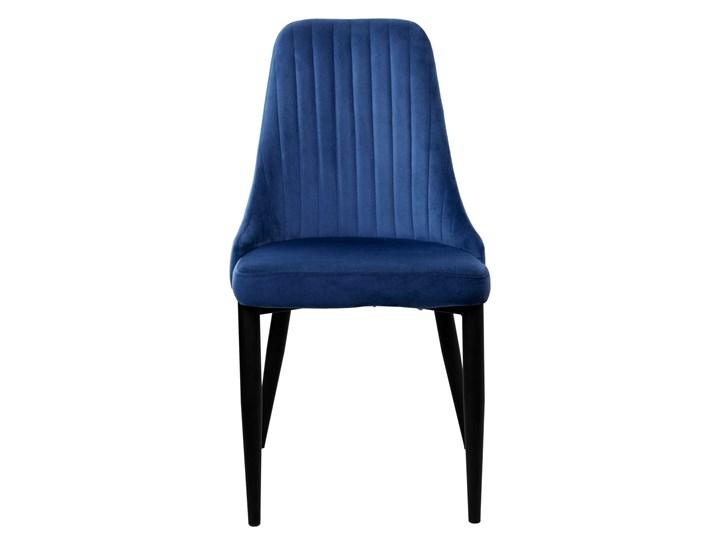 Krzesło aksamitne Lorient Velvet Granatowy Metal Welur Tapicerowane Pomieszczenie Jadalnia Wysokość 46 cm Wysokość 41 cm Szerokość 32 cm Wysokość 89 cm Głębokość 45 cm Tworzywo sztuczne Tkanina Styl Industrialny
