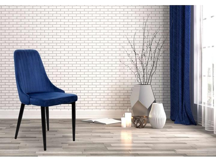 Krzesło aksamitne Lorient Velvet Granatowy Wysokość 46 cm Wysokość 41 cm Metal Tapicerowane Głębokość 45 cm Welur Wysokość 89 cm Tworzywo sztuczne Tkanina Szerokość 32 cm Styl Industrialny