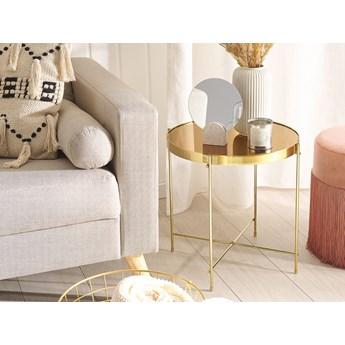 Stolik pomocniczy złotobrązowy blat z hartowanego szkła złote metalowe nogi okrągły glamour