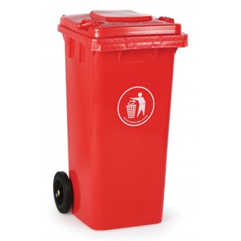 Plastikowy pojemnik na odpady 120 litrów, czerwony