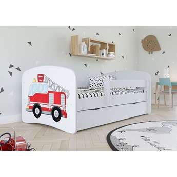 Łóżko dla chłopca z materacem Happy 2X mix 70x140 - białe