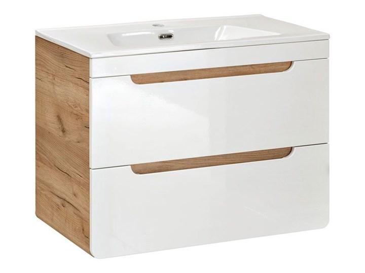 Szafka pod umywalkę Borneo 6X z szufladami 80 cm - Biały połysk Wiszące Rodzaj frontu Szuflady Wysokość 59 cm Kategoria Szafki stojące