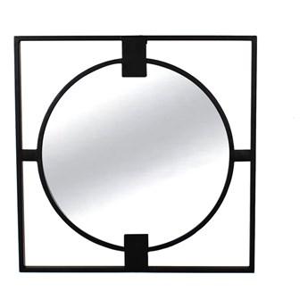 Lustro  w stalowej czarnej ramie loft 50'