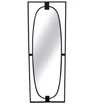 Lustro owalne w stalowej czarnej ramie loft