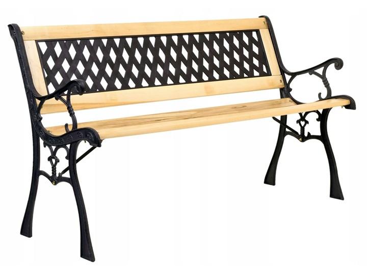 Ławka ogrodowa żeliwna KARO Z oparciem Drewno Tworzywo sztuczne Długość 120 cm Styl Klasyczny