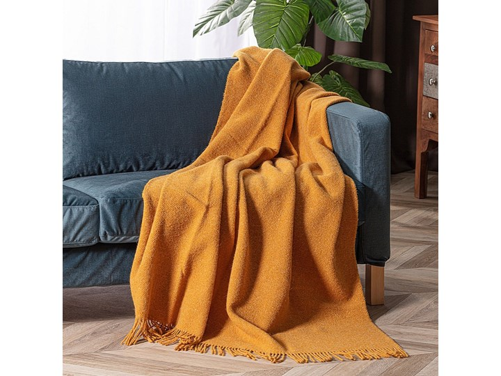 Pled Zelandia 140x200cm melange mustard, 140 x 200 cm Wełna 140x200 cm 130x180 cm Pomieszczenie Sypialnia